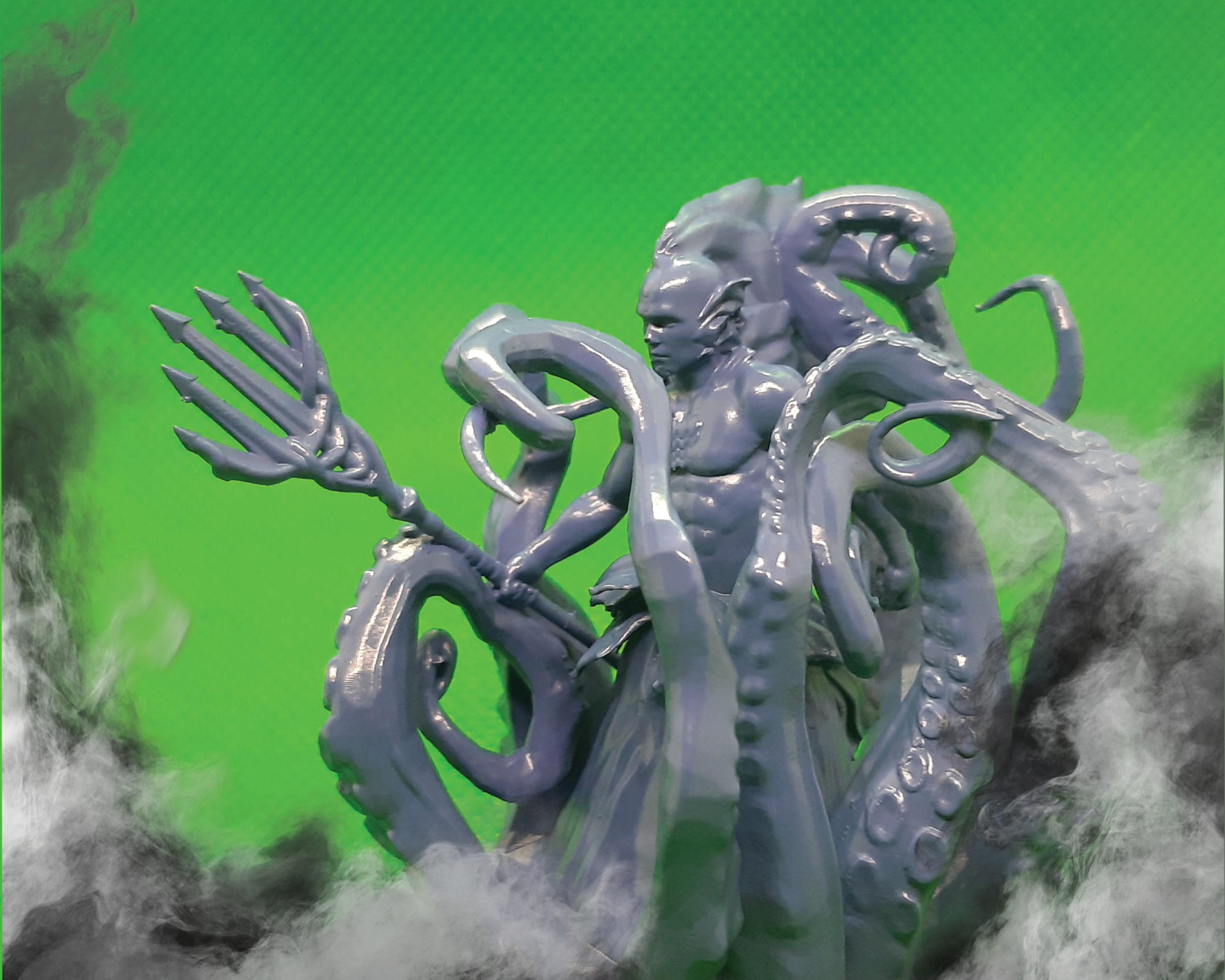 3D printed miniature of Abyssal Merfolk Triton Warrior with Trident