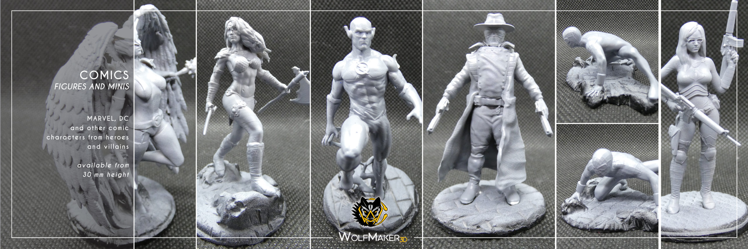 Marvel and Dc comic characters 3d miniatures printed